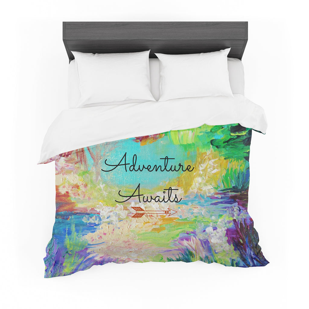 "Ebi Emporium ""Adventure Awaits"" Painting Typography Featherweight Duvet Cover"