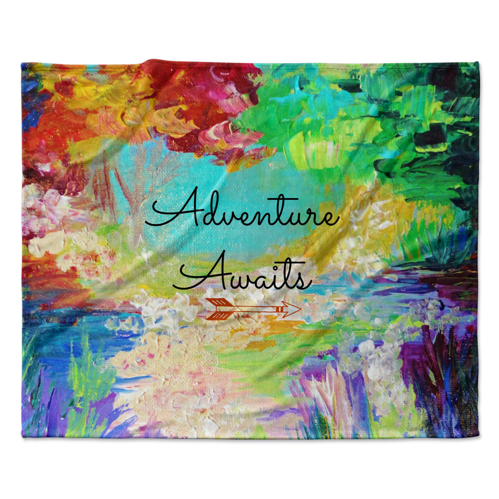 "Ebi Emporium ""Adventure Awaits"" Painting Typography Fleece Throw Blanket"