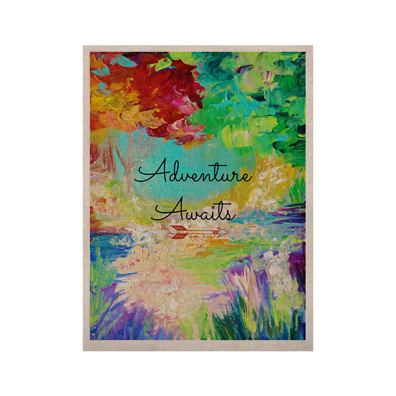 "Ebi Emporium ""Adventure Awaits"" Painting Typography KESS Naturals Canvas (Frame not Included) - KESS InHouse  - 1"