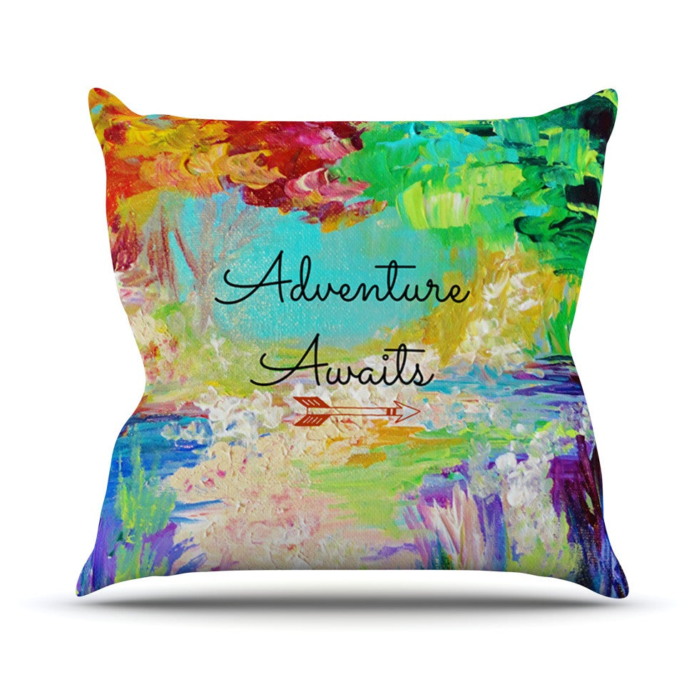 "Ebi Emporium ""Adventure Awaits"" Painting Typography Throw Pillow - KESS InHouse  - 1"