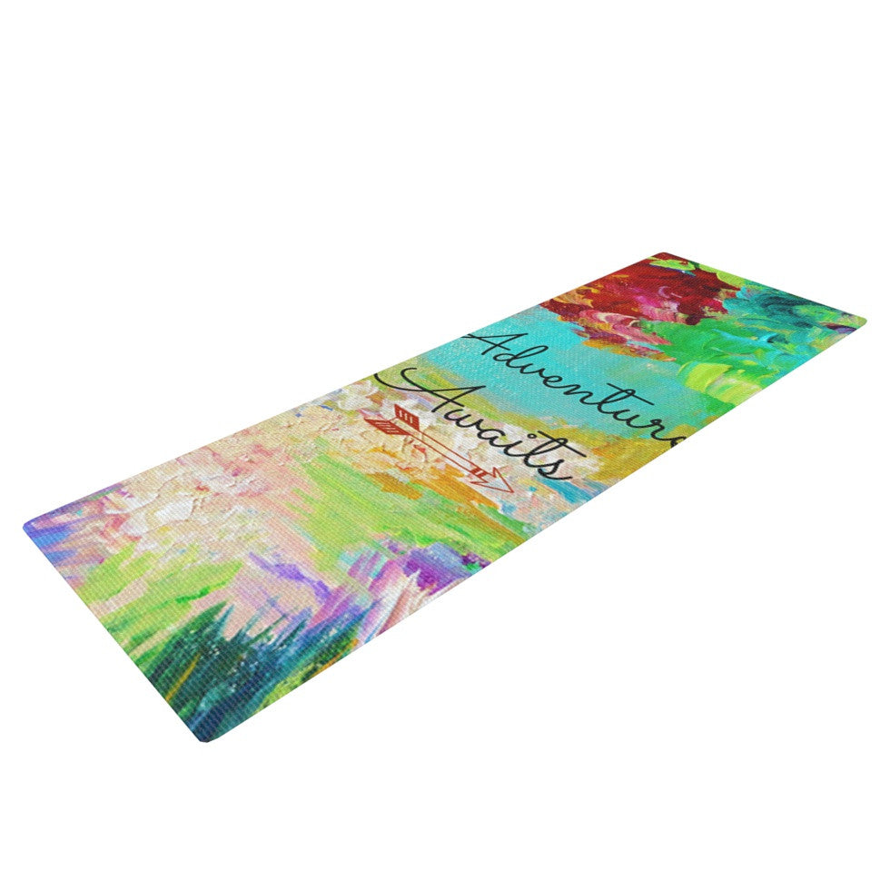 "Ebi Emporium ""Adventure Awaits"" Painting Typography Yoga Mat - KESS InHouse  - 1"