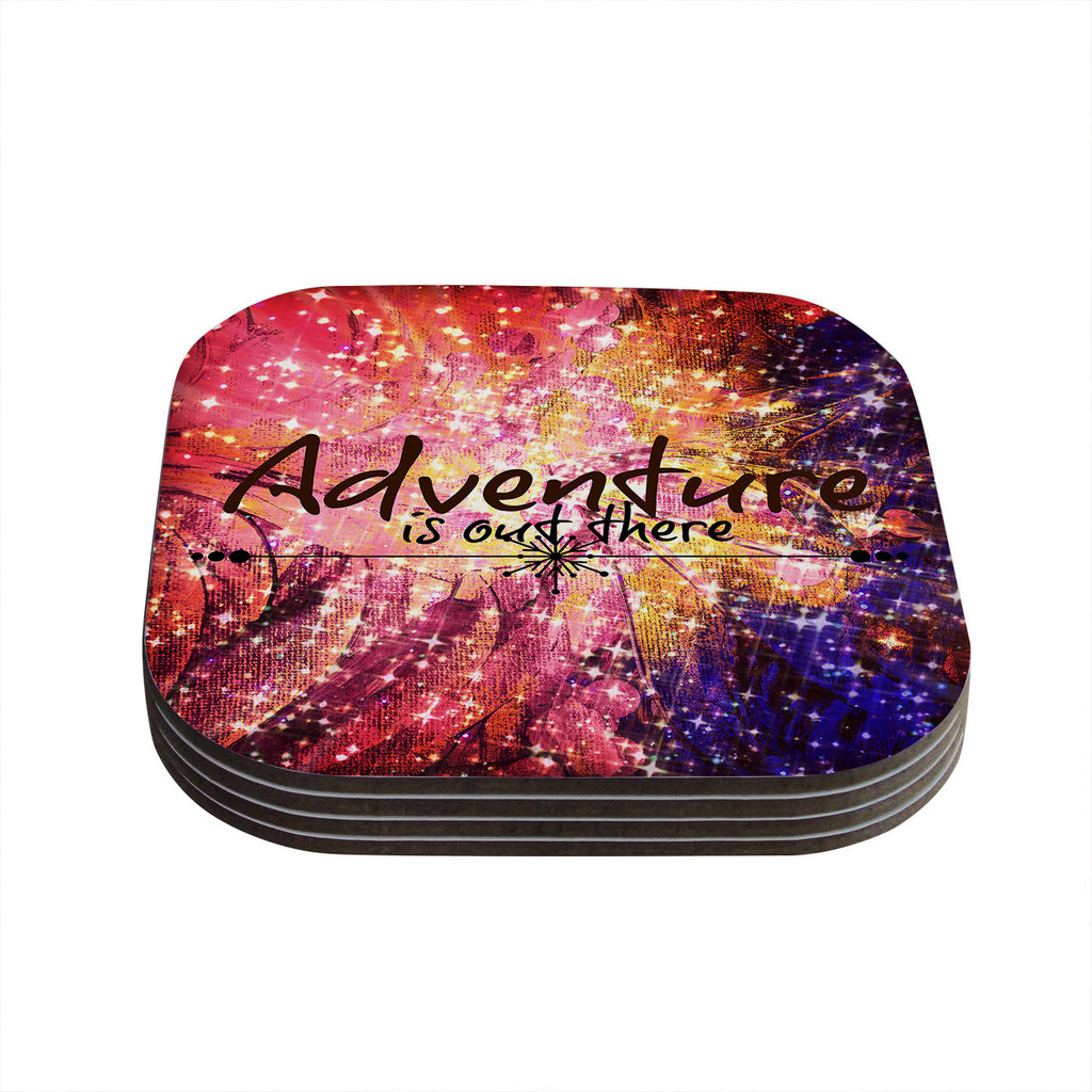 "Ebi Emporium ""Adventure is Out There"" Pink Typography Coasters (Set of 4)"