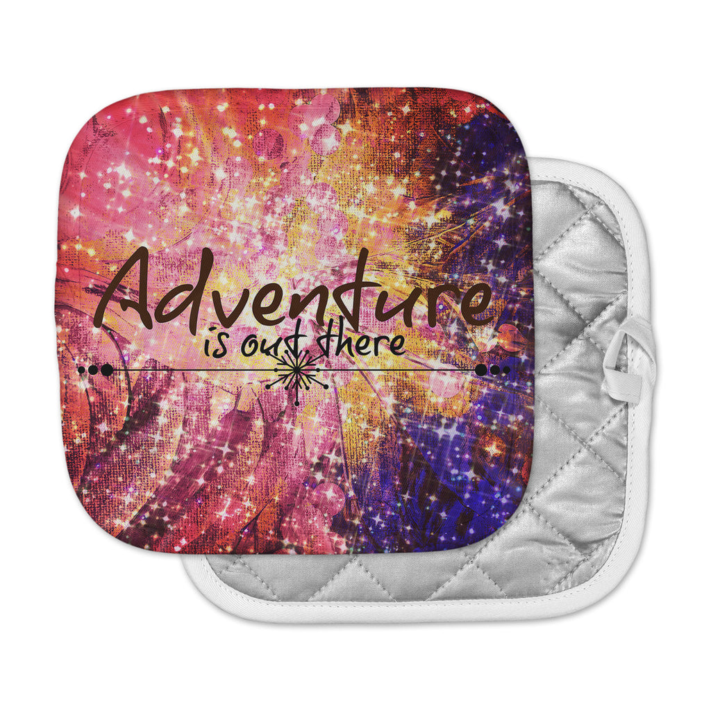 "Ebi Emporium ""Adventure is Out There"" Pink Typography Pot Holder"