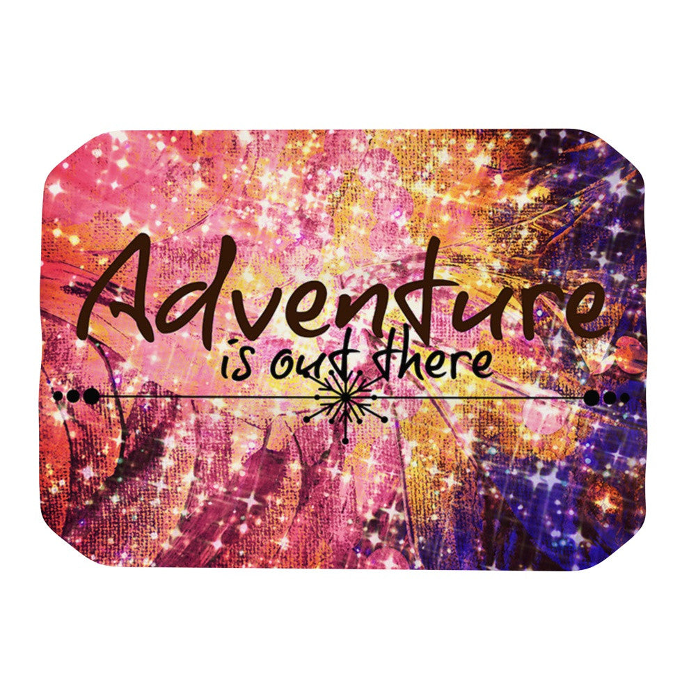 "Ebi Emporium ""Adventure is Out There"" Pink Typography Place Mat - KESS InHouse"