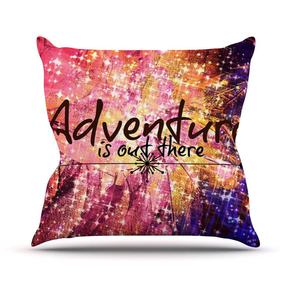 "Ebi Emporium ""Adventure is Out There"" Pink Typography Outdoor Throw Pillow - KESS InHouse  - 1"