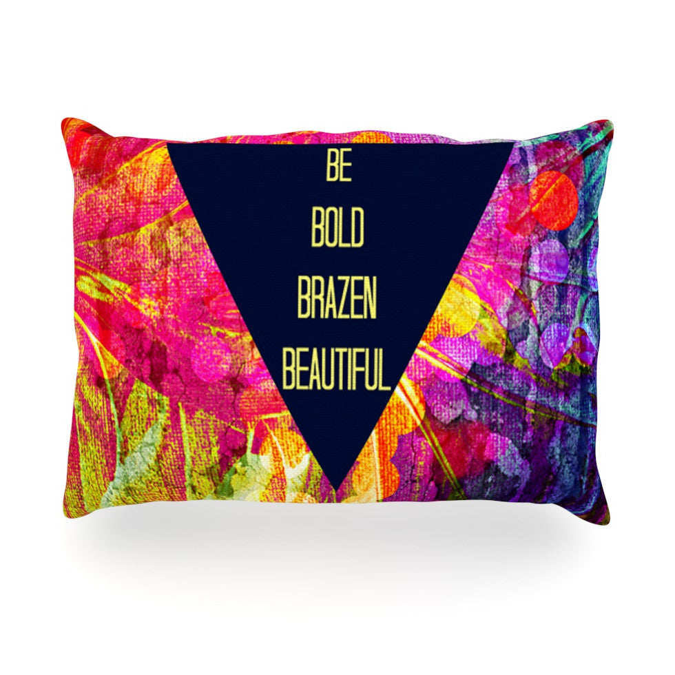 "Ebi Emporium ""Be Bold Brazen Beautiful"" Pink Rainbow Oblong Pillow - KESS InHouse"
