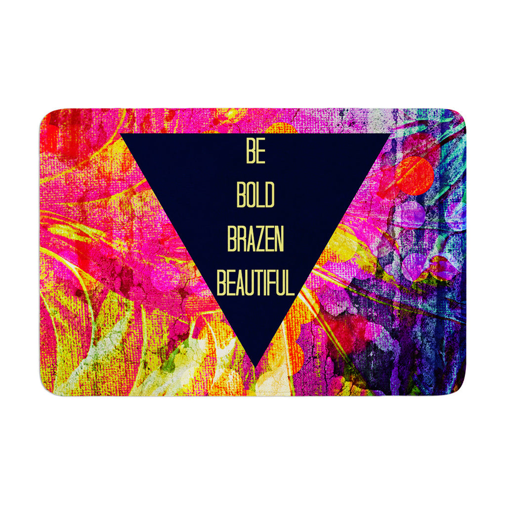 "Ebi Emporium ""Be Bold Brazen Beautiful"" Pink Rainbow Memory Foam Bath Mat - KESS InHouse"