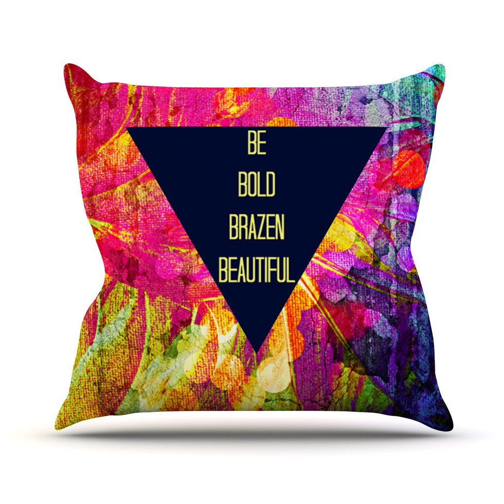 "Ebi Emporium ""Be Bold Brazen Beautiful"" Pink Rainbow Outdoor Throw Pillow - KESS InHouse  - 1"