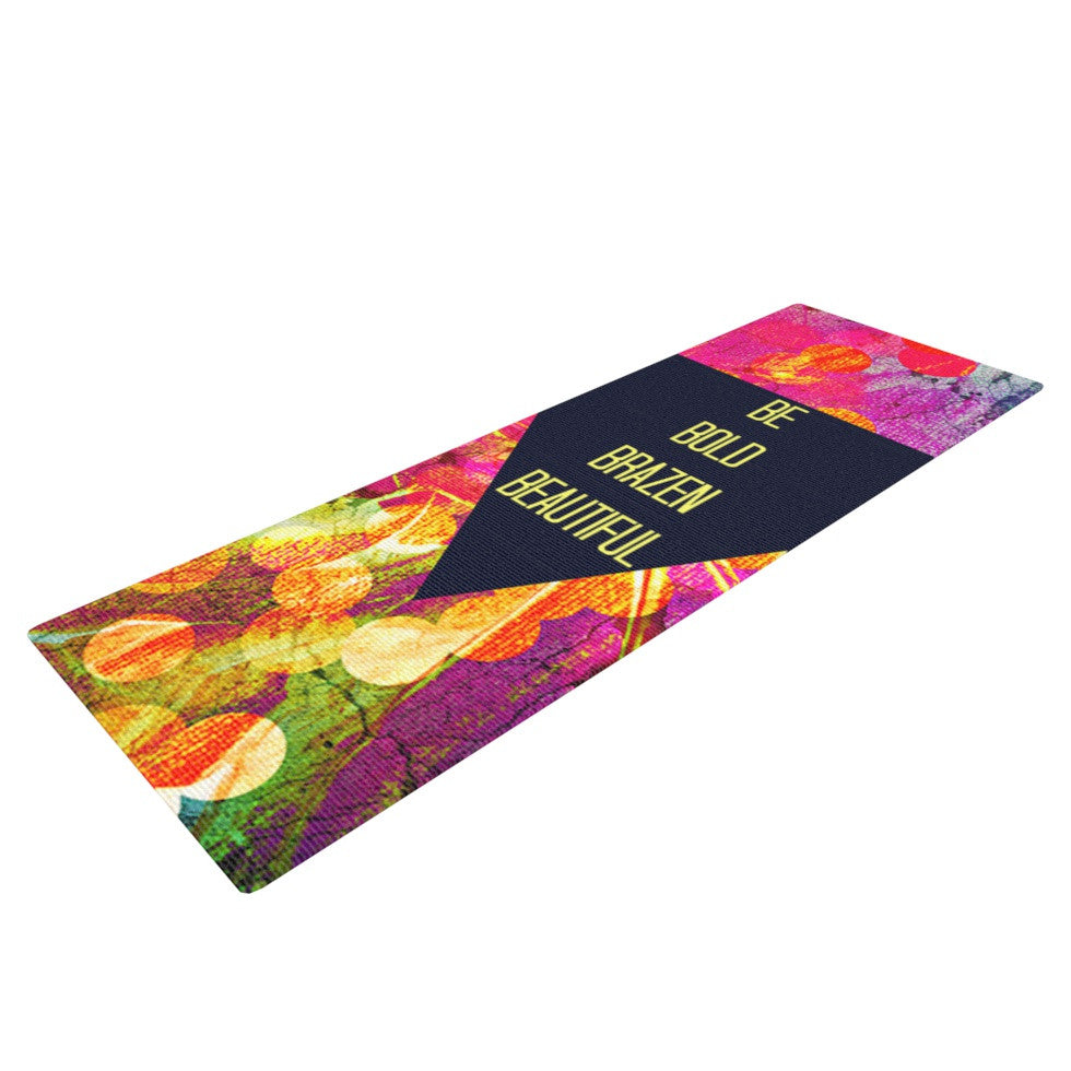 "Ebi Emporium ""Be Bold Brazen Beautiful"" Pink Rainbow Yoga Mat - KESS InHouse  - 1"