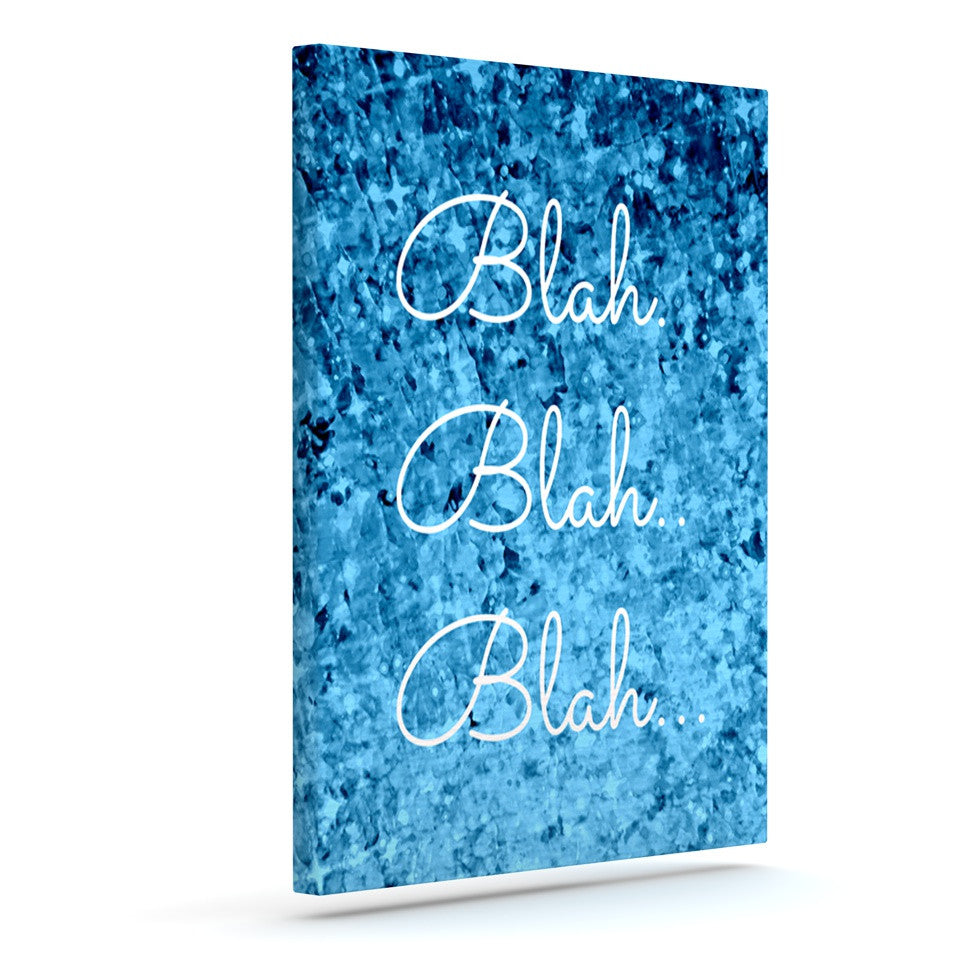 "Ebi Emporium ""Blah Blah Blah""  Blue Glitter Outdoor Canvas Wall Art - KESS InHouse  - 1"