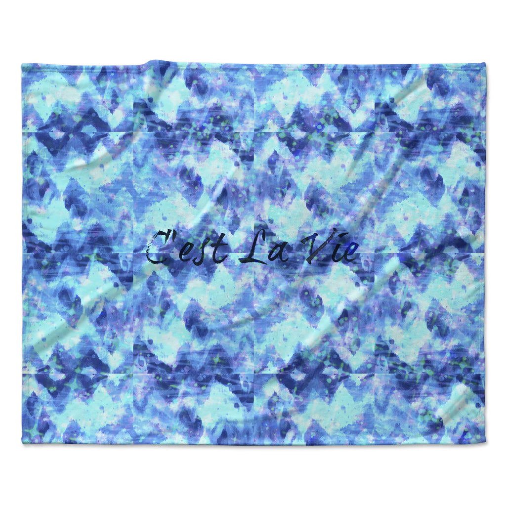 "Ebi Emporium ""C'est La Vie Revisited"" Blue Aqua Fleece Throw Blanket"