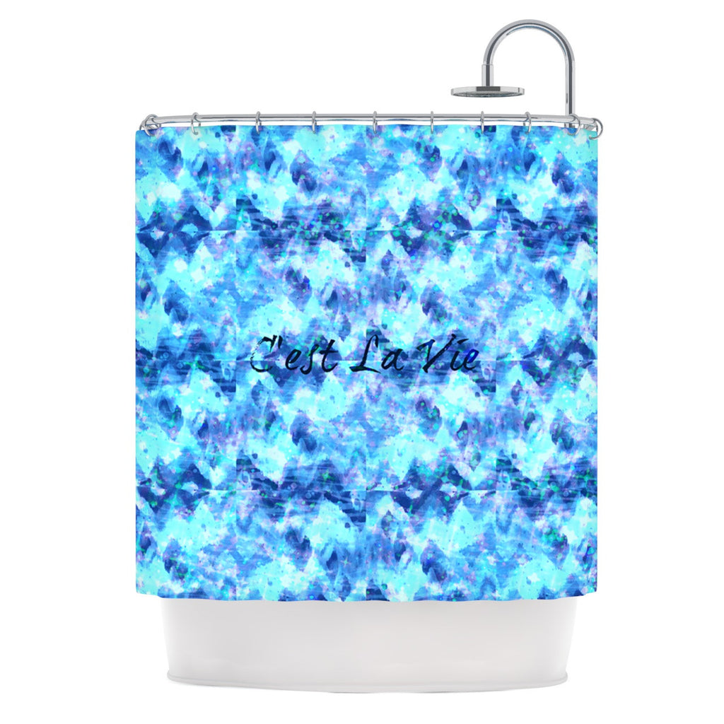 "Ebi Emporium ""C'est La Vie Revisited"" Blue Aqua Shower Curtain - KESS InHouse"
