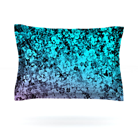 "Ebi Emporium ""Flower Power in Aqua"" Blue Purple Pillow Sham - Outlet Item"