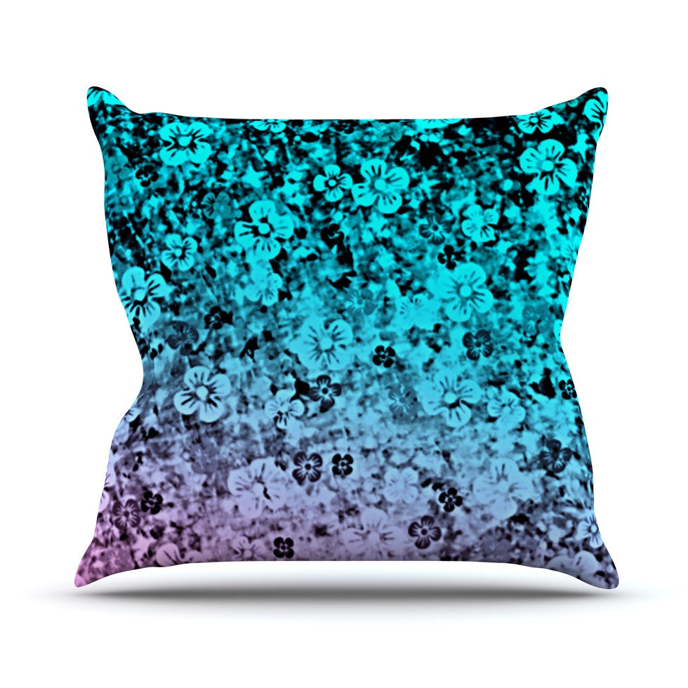 "Ebi Emporium ""Flower Power in Aqua"" Blue Purple Throw Pillow - KESS InHouse  - 1"
