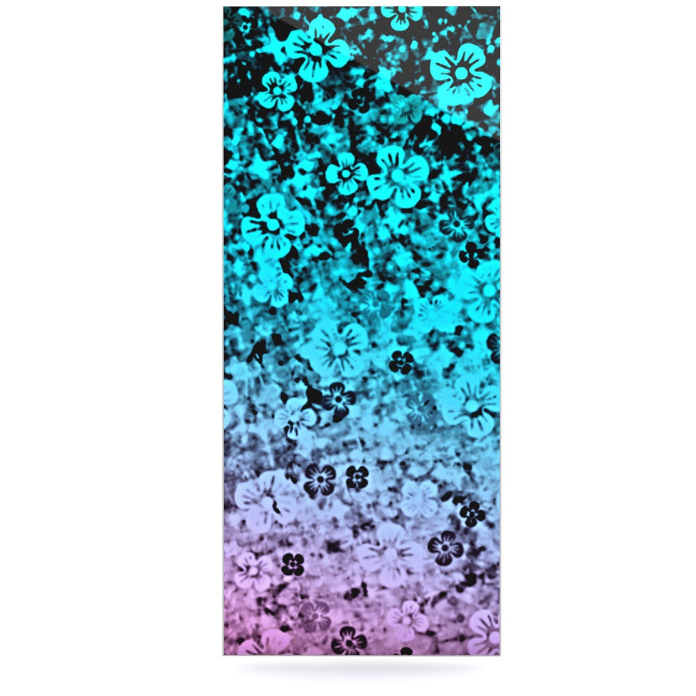 "Ebi Emporium ""Flower Power in Aqua"" Blue Purple Luxe Rectangle Panel - KESS InHouse  - 1"