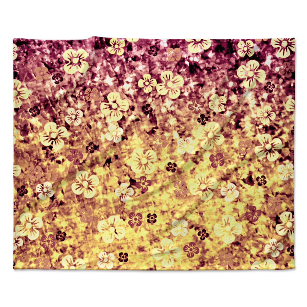 "Ebi Emporium ""Flower Power in Yellow"" Orange Glitter Fleece Throw Blanket"