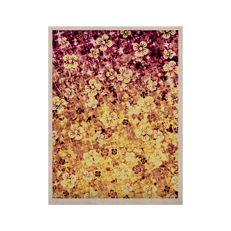 "Ebi Emporium ""Flower Power in Yellow"" Orange Glitter KESS Naturals Canvas (Frame not Included) - KESS InHouse  - 1"