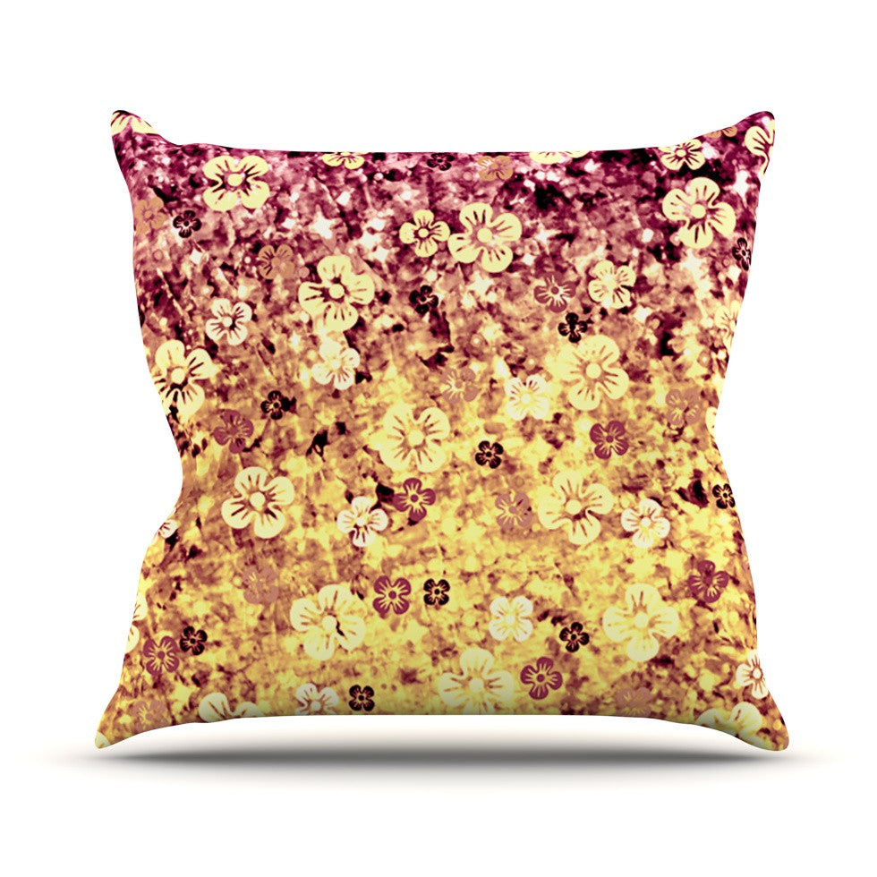"Ebi Emporium ""Flower Power in Yellow"" Orange Glitter Throw Pillow - KESS InHouse  - 1"