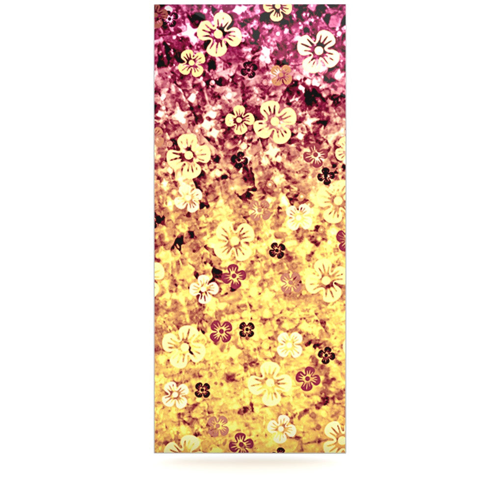 "Ebi Emporium ""Flower Power in Yellow"" Orange Glitter Luxe Rectangle Panel - KESS InHouse  - 1"