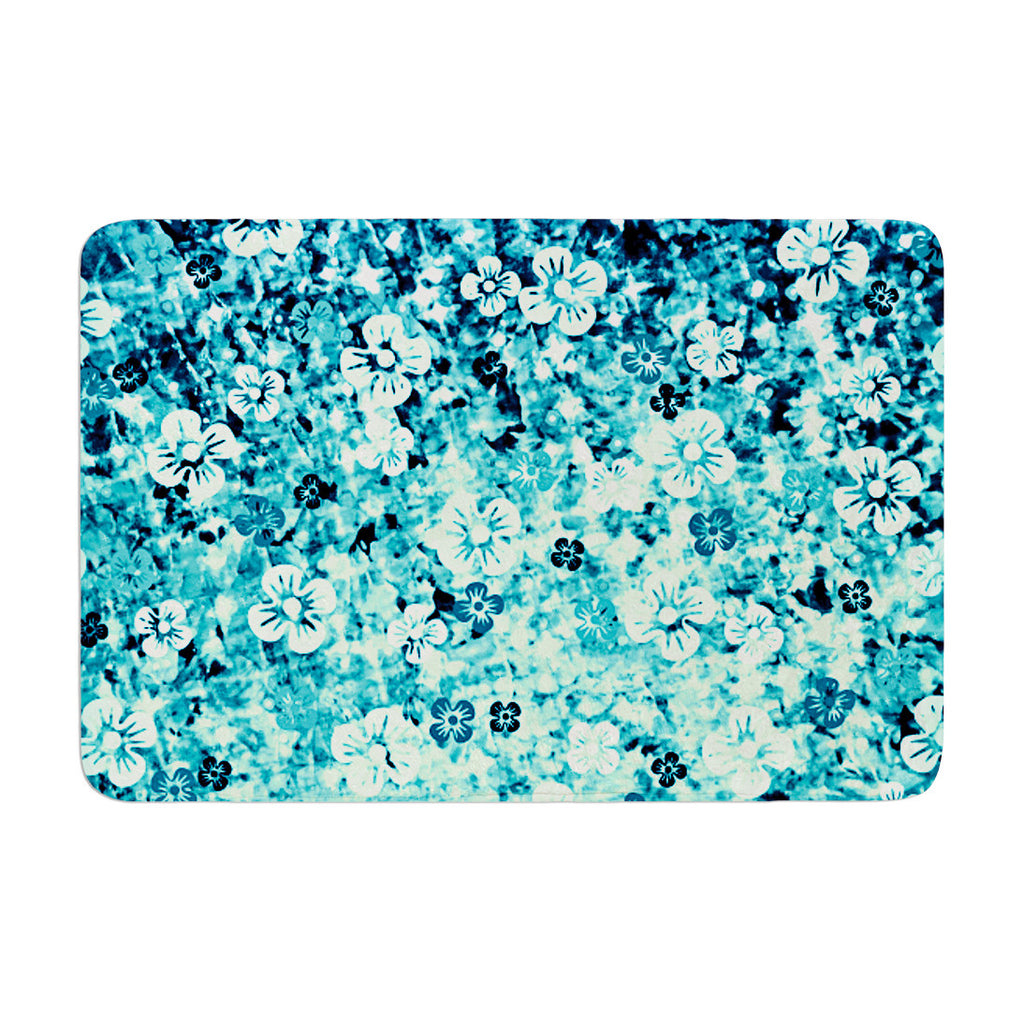 "Ebi Emporium ""Flower Power in Blue"" Teal Aqua Memory Foam Bath Mat - KESS InHouse"