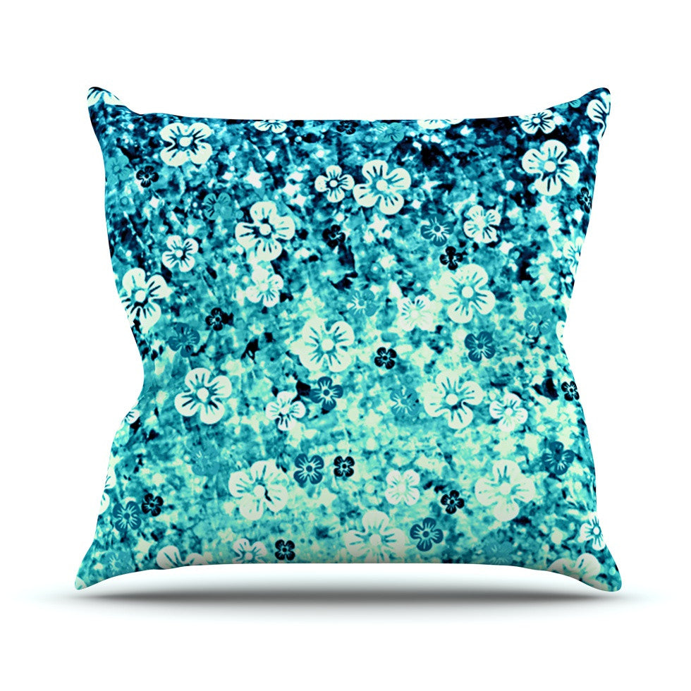 "Ebi Emporium ""Flower Power in Blue"" Teal Aqua Outdoor Throw Pillow - KESS InHouse  - 1"
