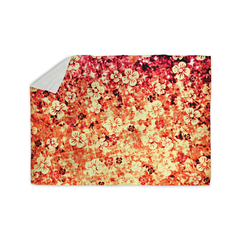 "Ebi Emporium ""Flower Power in Orange"" Red Floral Sherpa Blanket - KESS InHouse  - 1"