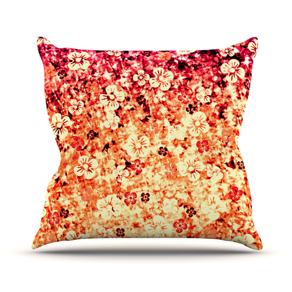 "Ebi Emporium ""Flower Power in Orange"" Red Floral Outdoor Throw Pillow - KESS InHouse  - 1"
