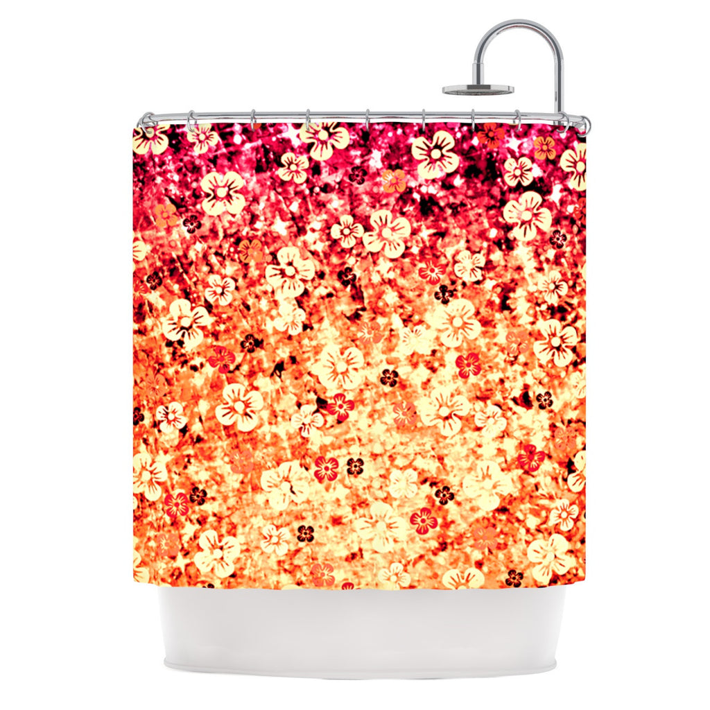 "Ebi Emporium ""Flower Power in Orange"" Red Floral Shower Curtain - KESS InHouse"