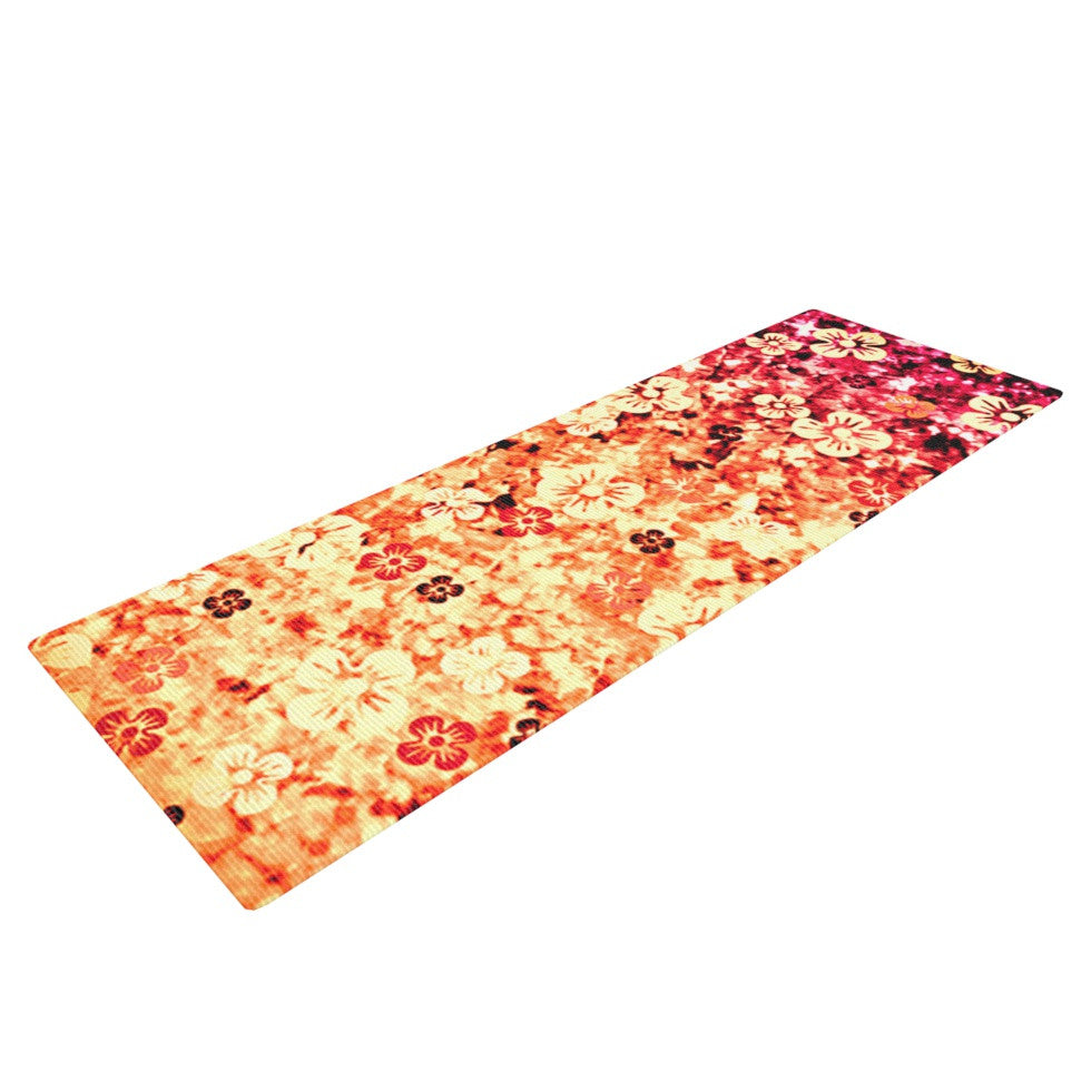 "Ebi Emporium ""Flower Power in Orange"" Red Floral Yoga Mat - KESS InHouse  - 1"