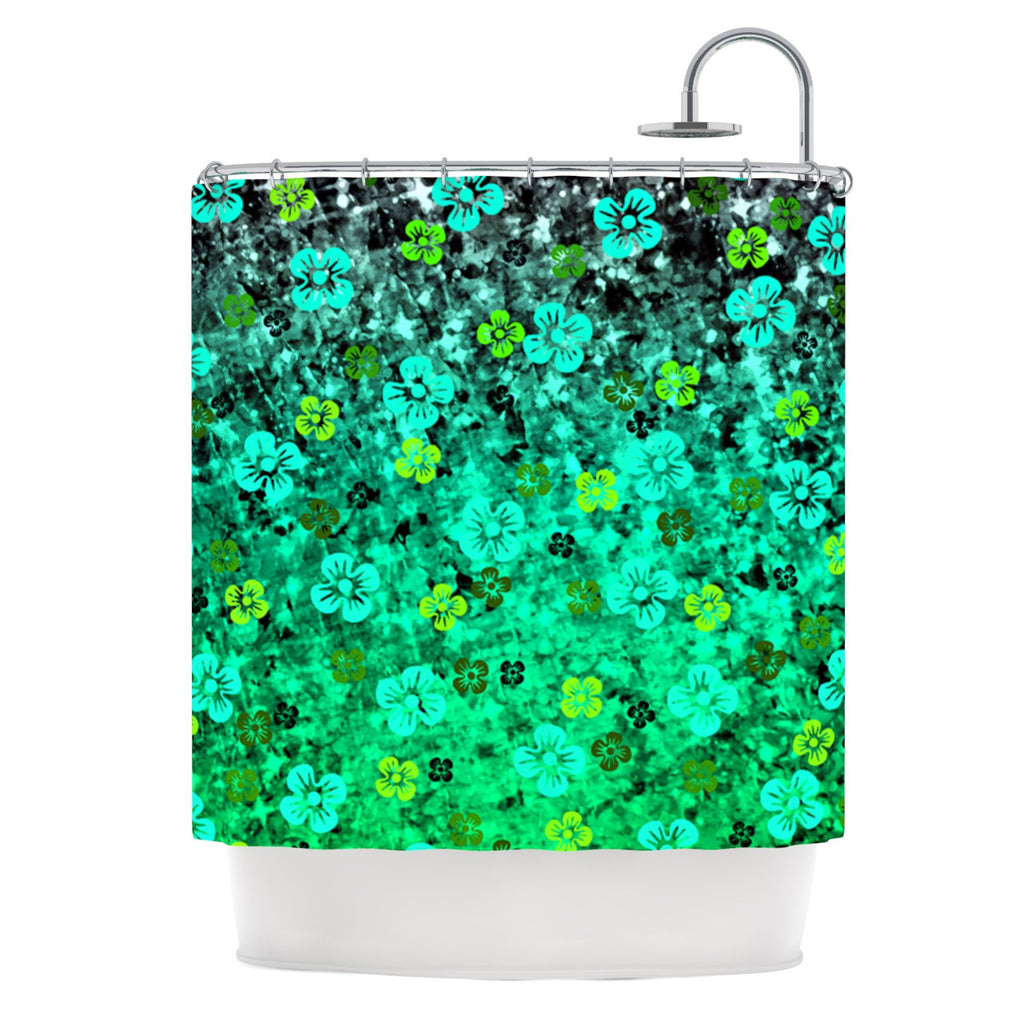 "Ebi Emporium ""Luck of the Irish"" Green Floral Shower Curtain - KESS InHouse"