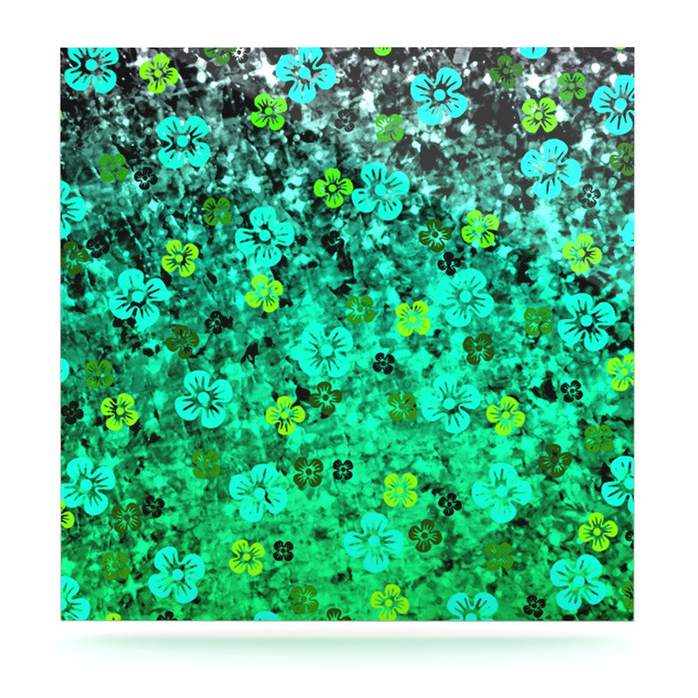 "Ebi Emporium ""Luck of the Irish"" Green Floral Luxe Square Panel - KESS InHouse  - 1"