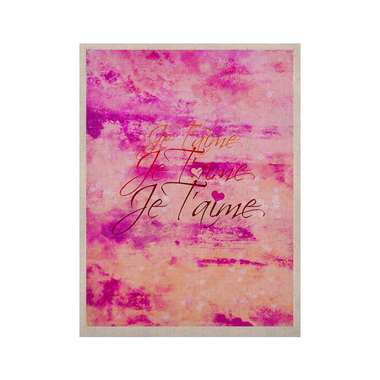 "Ebi Emporium ""Je T'aime"" Pastel Grundge KESS Naturals Canvas (Frame not Included) - KESS InHouse  - 1"