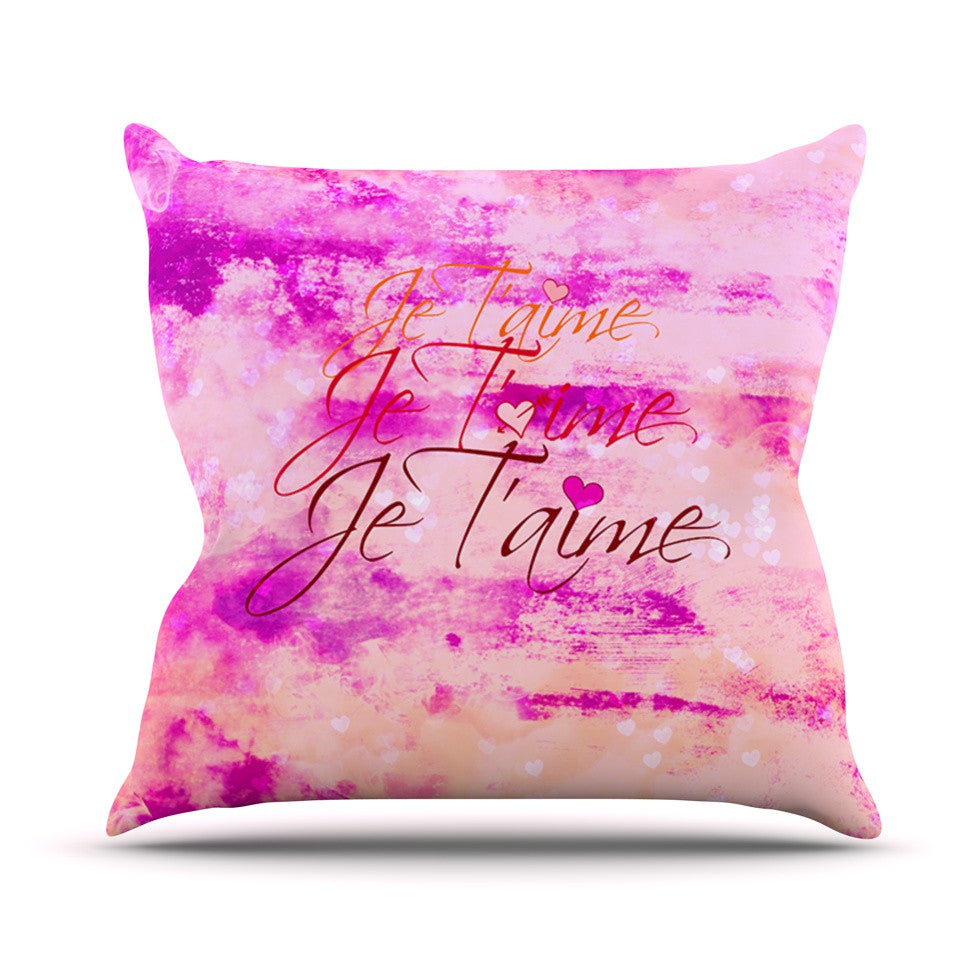 "Ebi Emporium ""Je T'aime"" Pastel Grundge Throw Pillow - KESS InHouse  - 1"