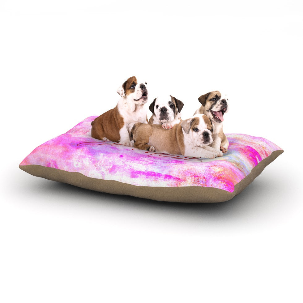 "Ebi Emporium ""Je T'aime II"" Abstract Pink Dog Bed - KESS InHouse  - 1"