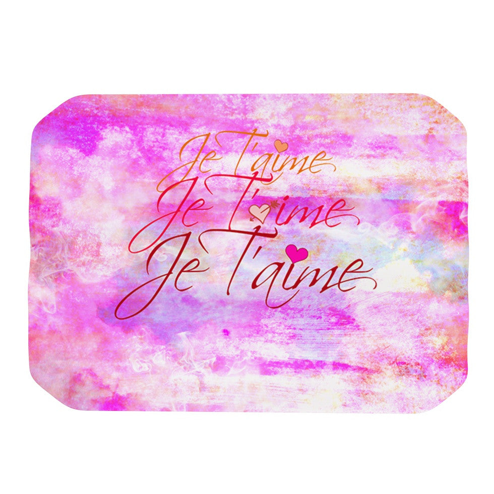 "Ebi Emporium ""Je T'aime II"" Abstract Pink Place Mat - KESS InHouse"