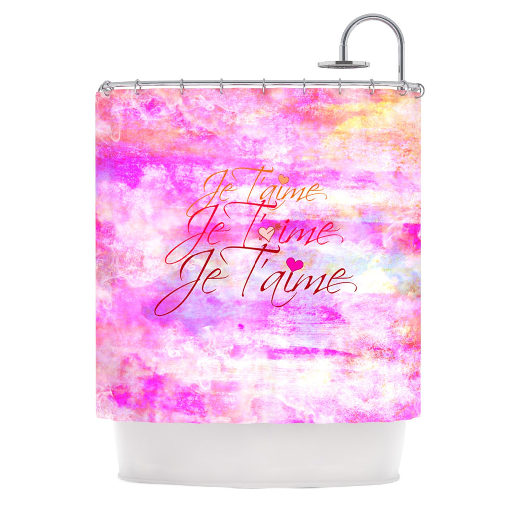 "Ebi Emporium ""Je T'aime II"" Abstract Pink Shower Curtain - KESS InHouse"