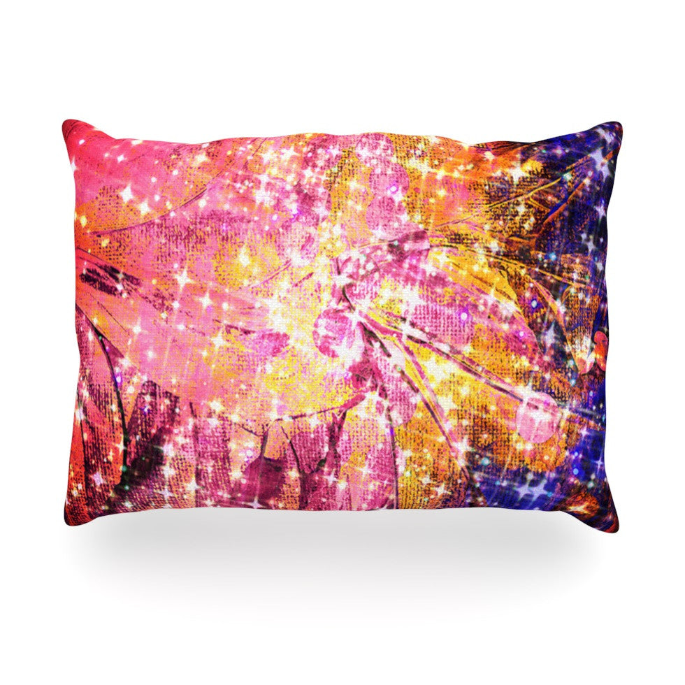 "Ebi Emporium ""Out There"" Pink Yellow Oblong Pillow - KESS InHouse"