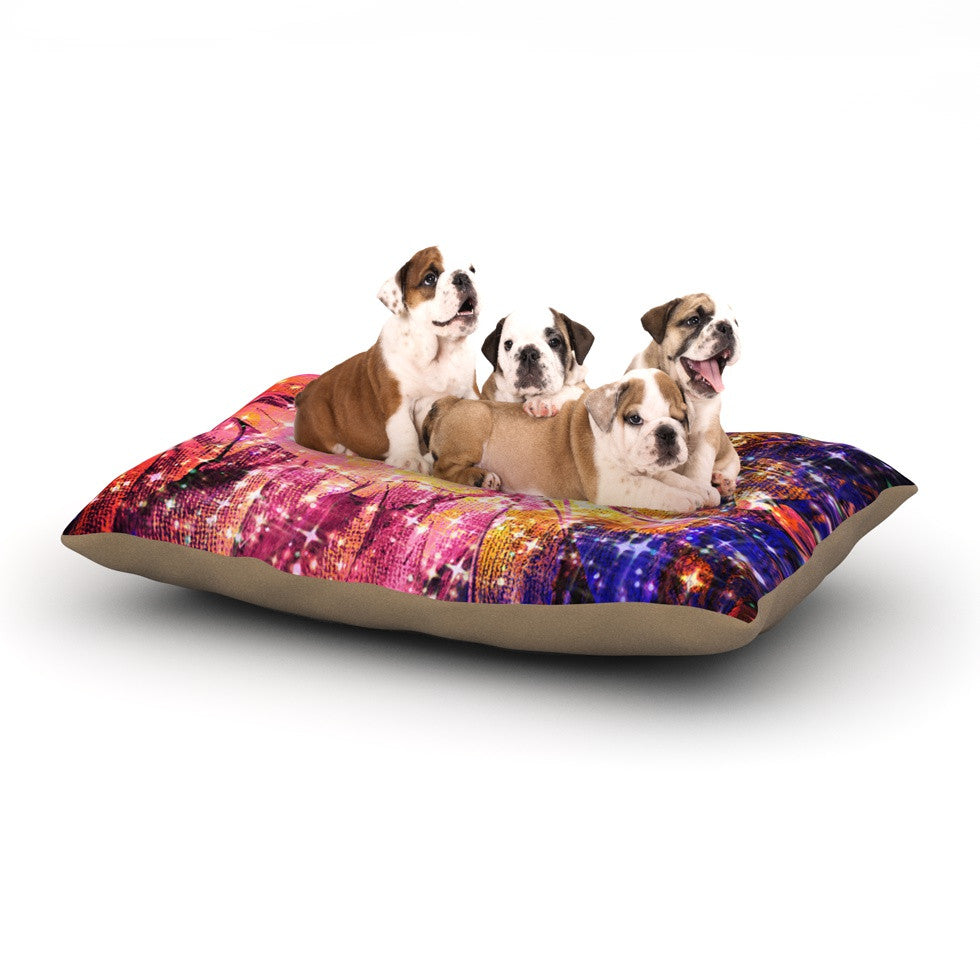 "Ebi Emporium ""Out There"" Pink Yellow Dog Bed - KESS InHouse  - 1"