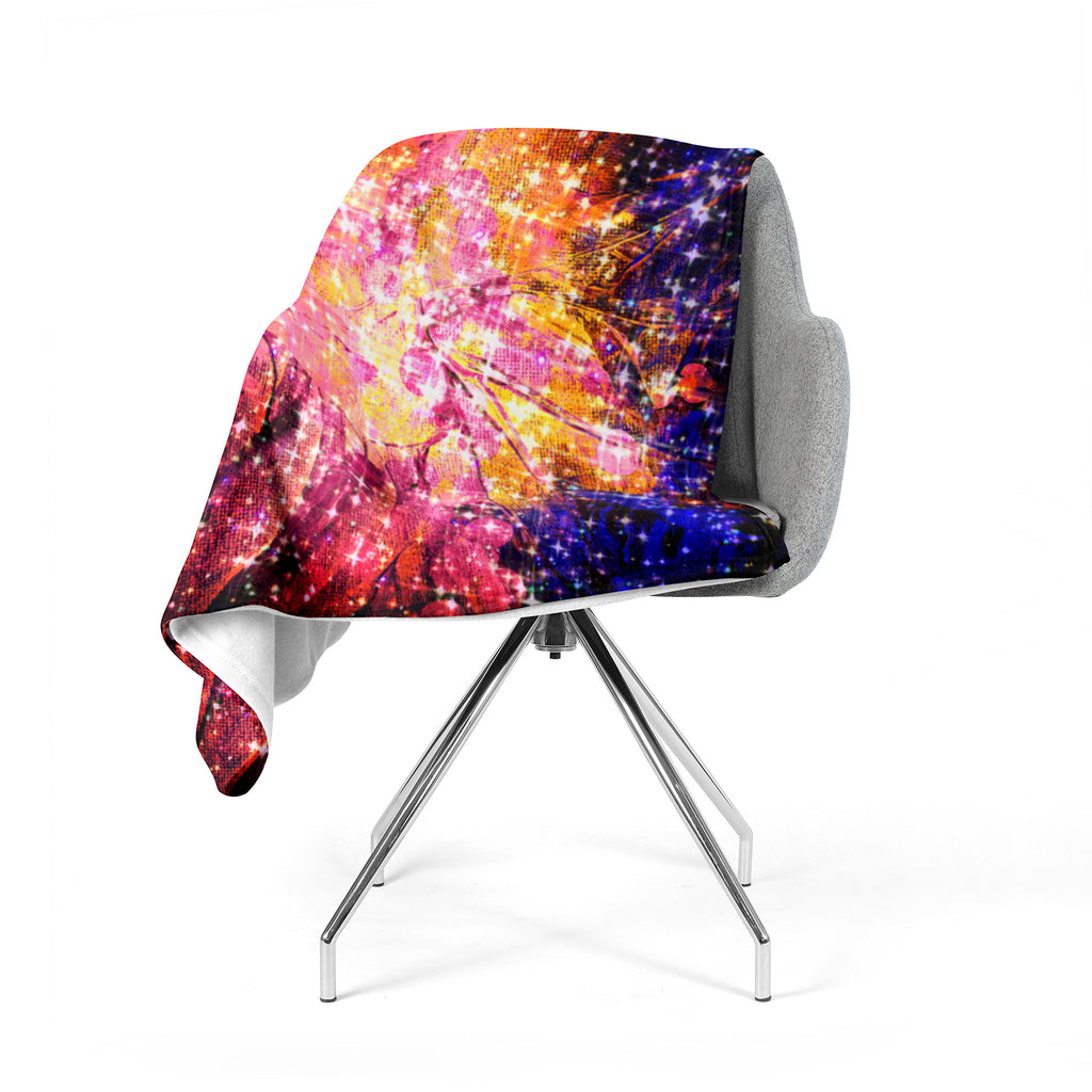"Ebi Emporium ""Out There"" Pink Yellow Fleece Throw Blanket"