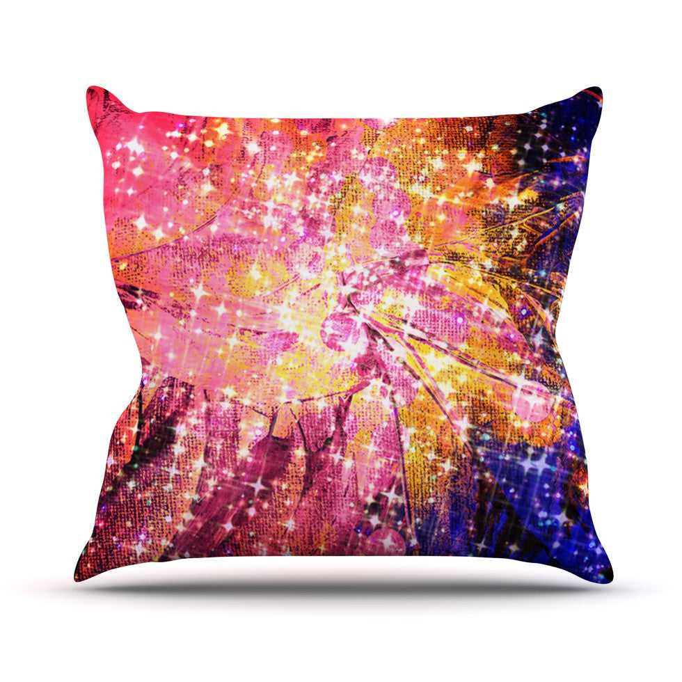 "Ebi Emporium ""Out There"" Pink Yellow Throw Pillow - KESS InHouse  - 1"