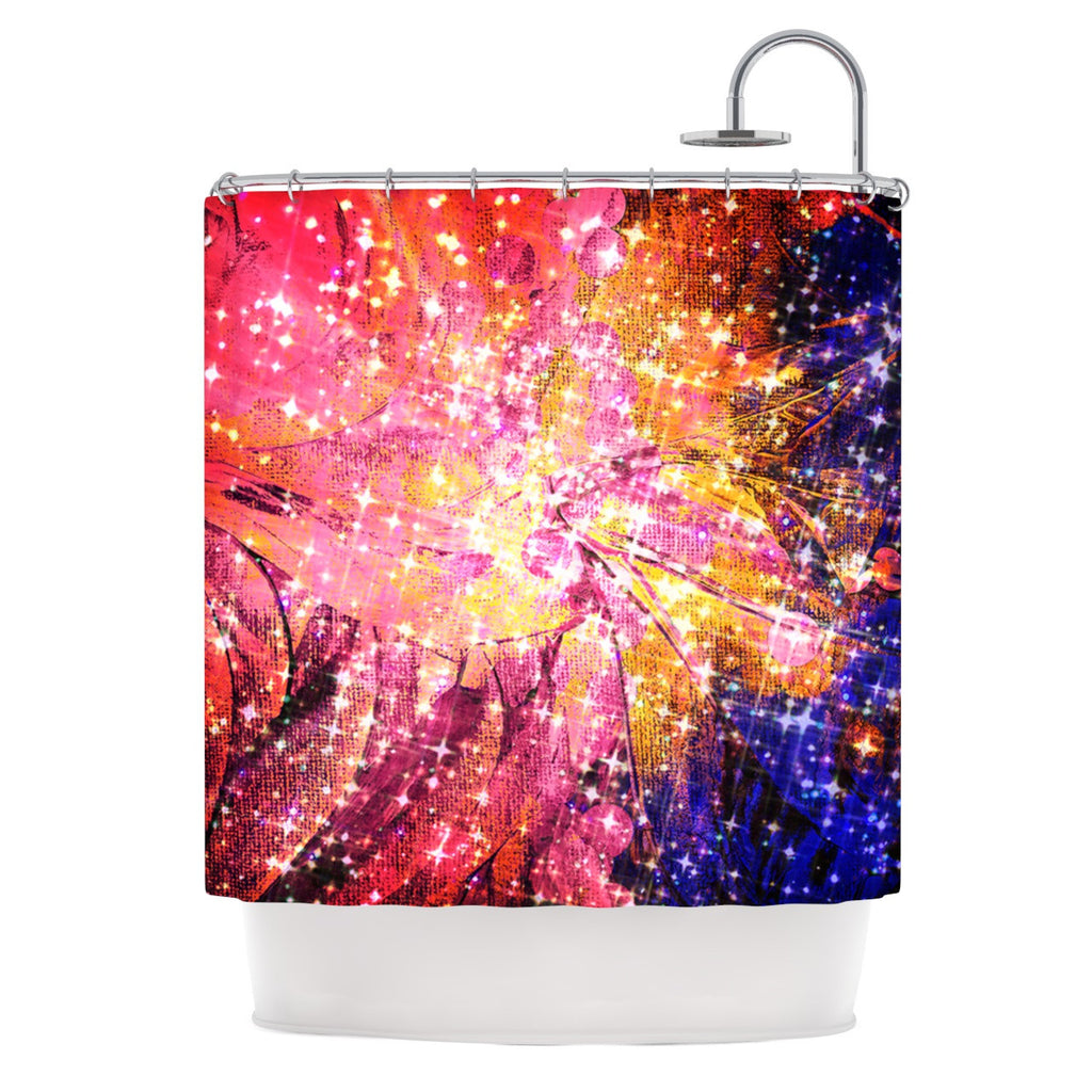 "Ebi Emporium ""Out There"" Pink Yellow Shower Curtain - KESS InHouse"