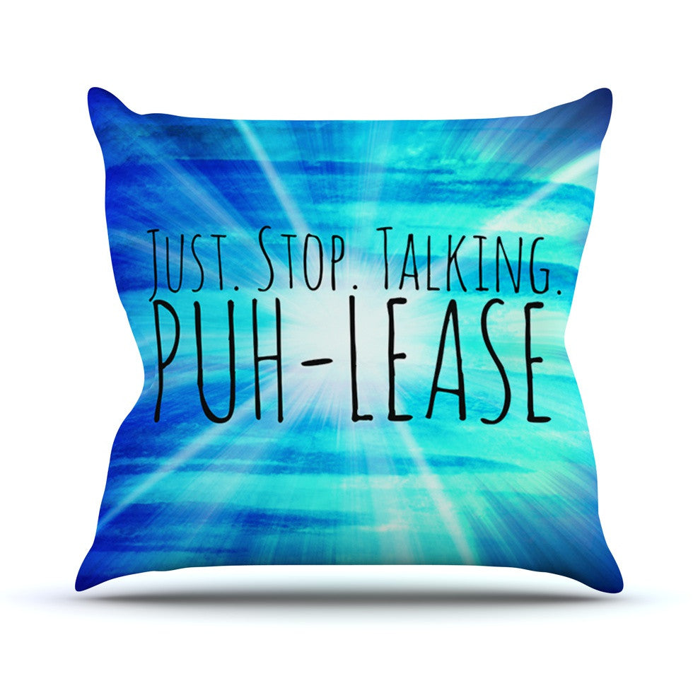 "Ebi Emporium ""Puh-lease"" Blue Aqua Throw Pillow - KESS InHouse  - 1"