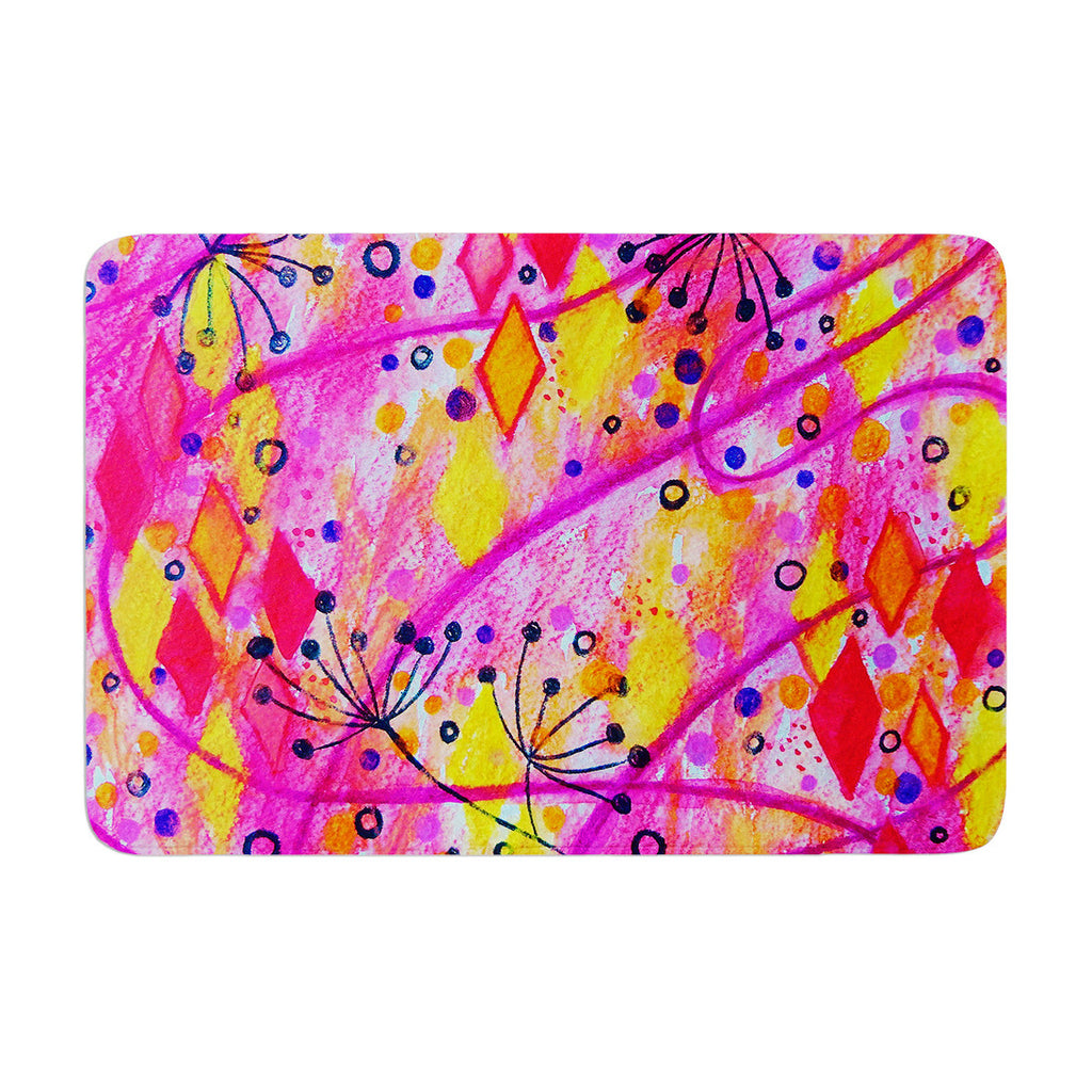 "Ebi Emporium ""Into the Fall 2"" Pink Yellow Memory Foam Bath Mat - KESS InHouse"