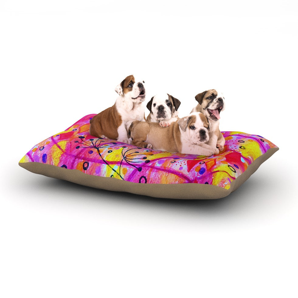 "Ebi Emporium ""Into the Fall 2"" Pink Yellow Dog Bed - KESS InHouse  - 1"