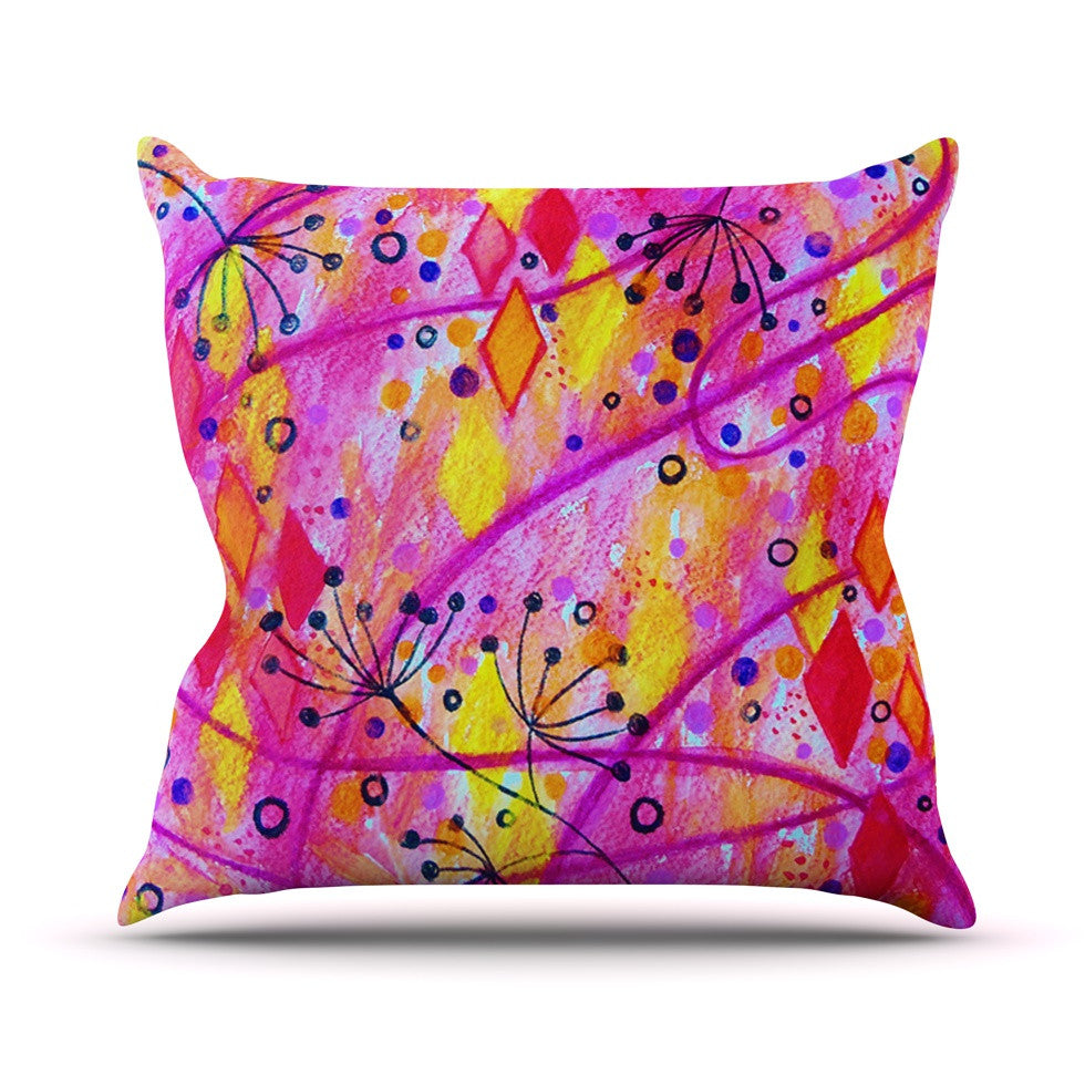 "Ebi Emporium ""Into the Fall 2"" Pink Yellow Throw Pillow - KESS InHouse  - 1"