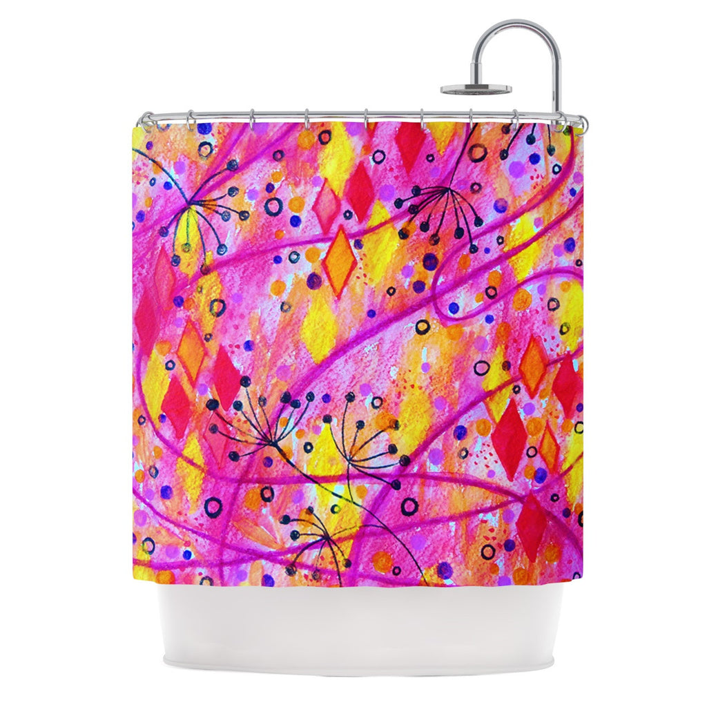 "Ebi Emporium ""Into the Fall 2"" Pink Yellow Shower Curtain - KESS InHouse"