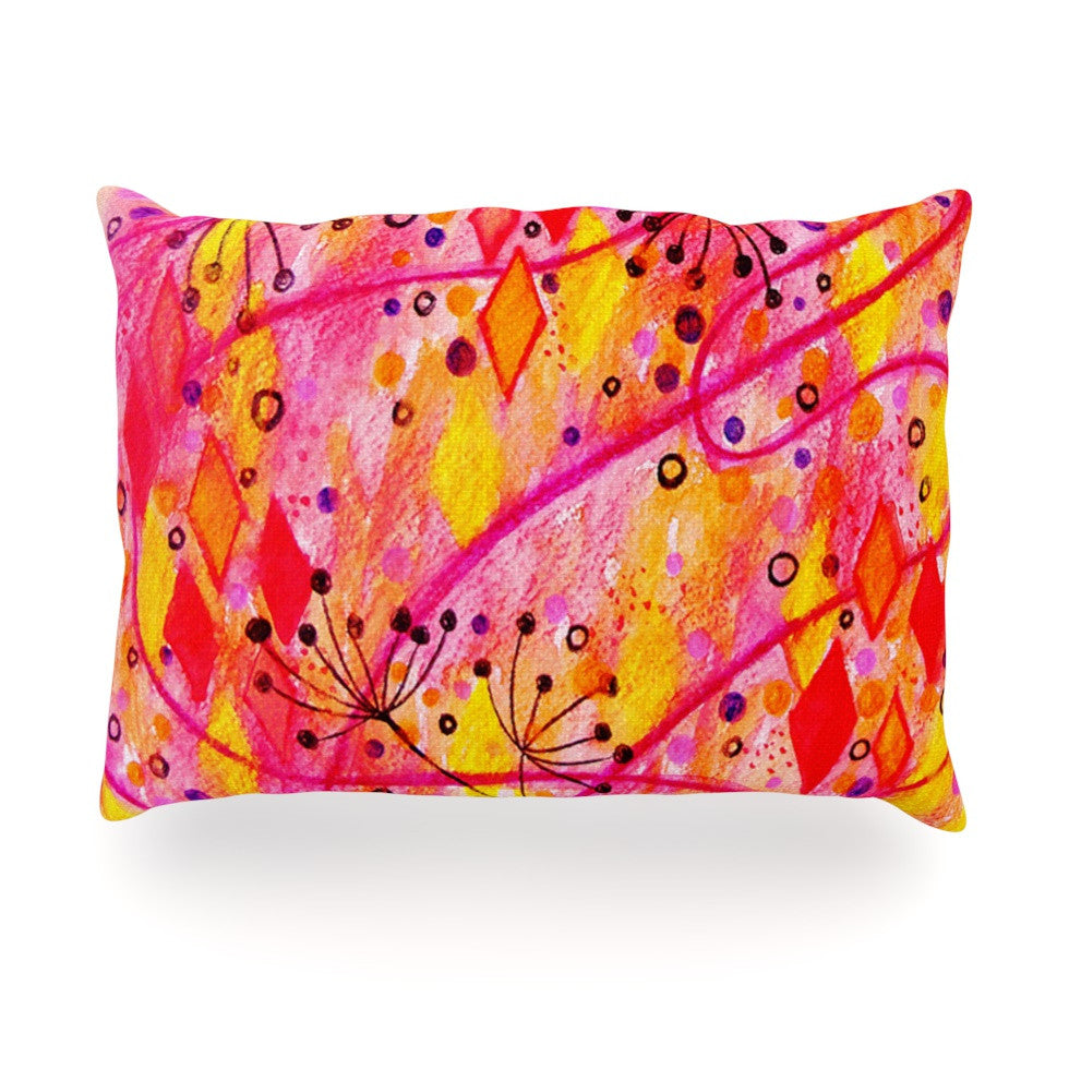 "Ebi Emporium ""Into the Fall"" Orange Pink Oblong Pillow - KESS InHouse"