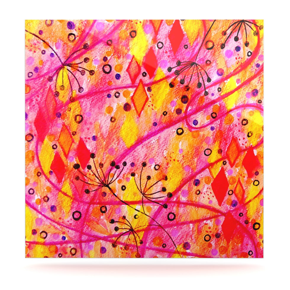 "Ebi Emporium ""Into the Fall"" Orange Pink Luxe Square Panel - KESS InHouse  - 1"