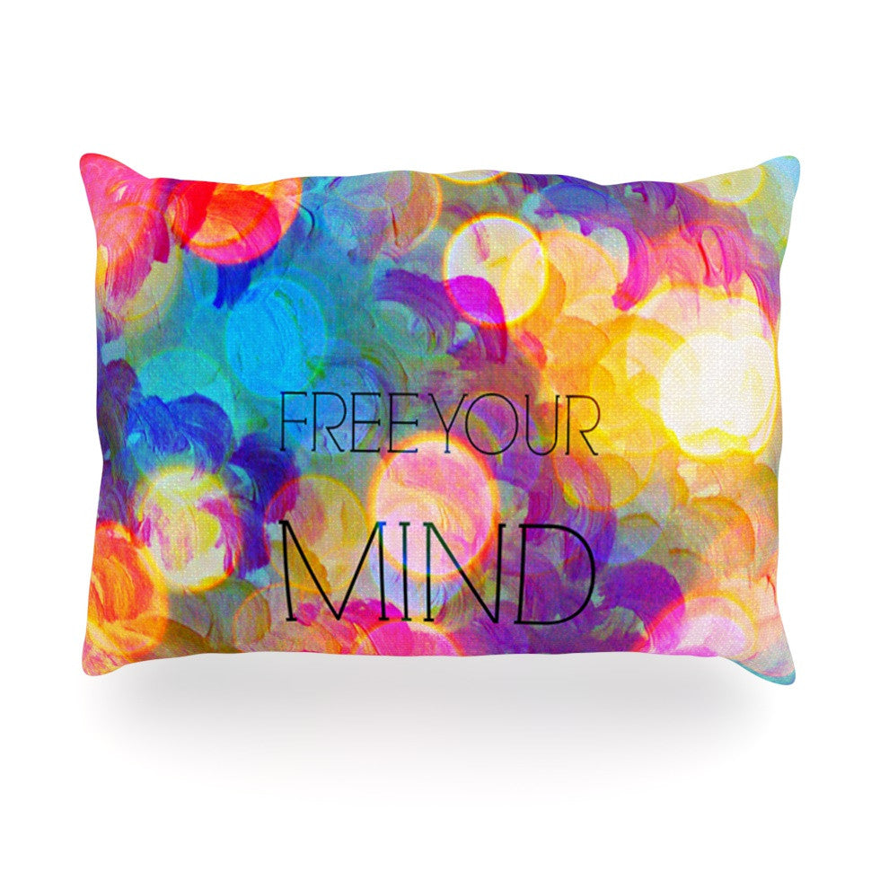 "Ebi Emporium ""Free Your Mind"" Rainbow Oblong Pillow - KESS InHouse"