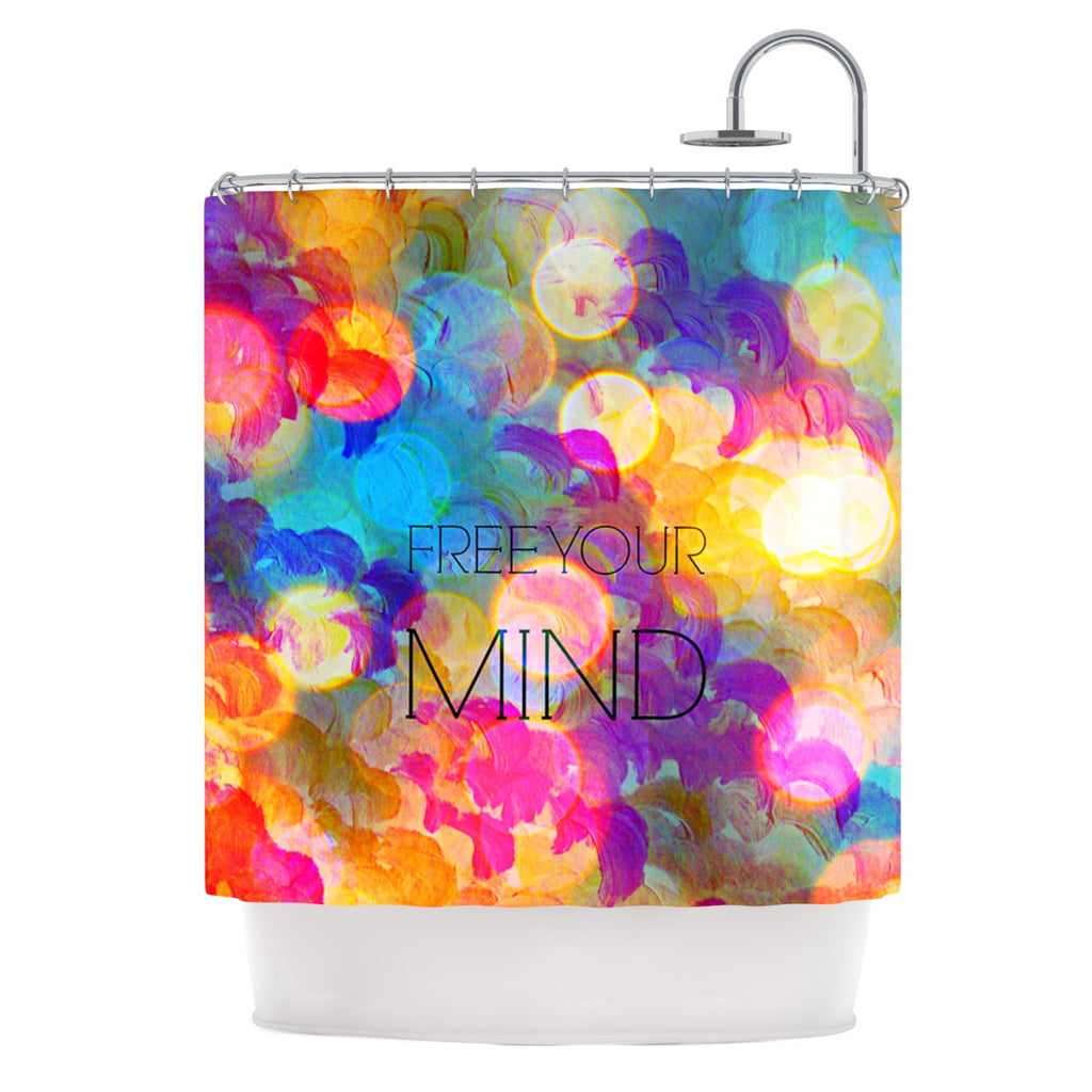 "Ebi Emporium ""Free Your Mind"" Rainbow Shower Curtain - KESS InHouse"